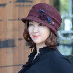 ★F/W 신상★커피체리-와인컬러 우아한 보색포인트 볼륨업 심플 모자 상품 이미지